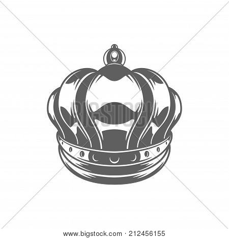 King Crown Logo Vector Illustration. Royal Crown Silhouette Isolated On White Background. Vector object for Labels, Badges, Logos Design.