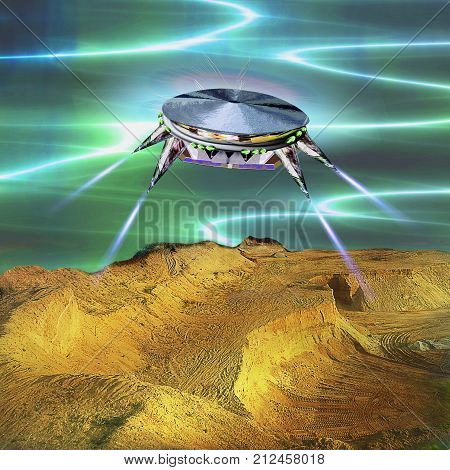 Unidentified flying object landing in the desert. Unknown object flying over sand dunes. 3d illustration