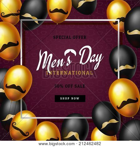 International men's day or Father's Day vector greeting card. Realistic balloons black, gold with mustache symbol on dark red background with border. Pattern of hats. Discount text. 3d illustrations