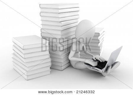 3d man working at his laptop