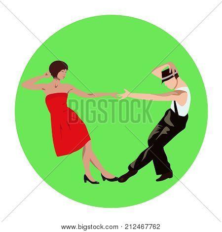Couple man and woman dancing lindy hop tango salsa bachata vintage dance vector sign icon ads promo banner illustration