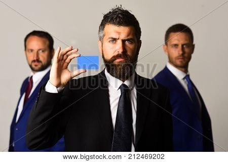 Men With Beard And Serious Faces Advertise Company And Partnership