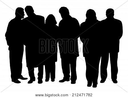 Business people group. Four businessmen and two businesswomen.