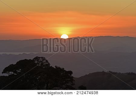 Sunset Over the Coastal Mountains in Monteverde Costa Rica