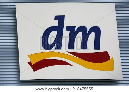 LINDEN GERMANY JULY 2017: dm drugstore chain sign. dm is a GERMAN global discount drugstore chain based in Karlsruhe Baden-Wuerttemberg Germany.