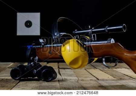 Shooting, Pneumatic And Firearms On A Wooden Table. Table On The Shooting Range, Weapons And Shootin