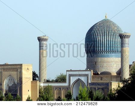 Minarets of Gur-Amir Mausoleum of the Asian conqueror Tamerlane in Samarkand Uzbekistan
