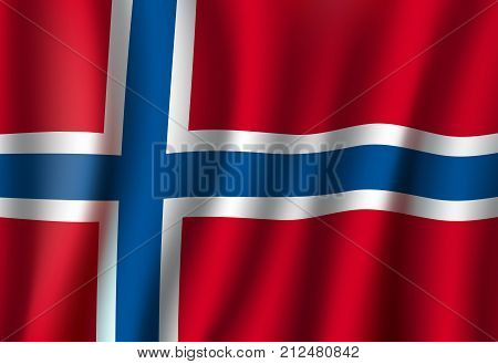 Norway flag 3D background. Norwegian republic European or Scandinavian country official national flag waving with vector curved fabric or waves texture in white and blue cross on red color
