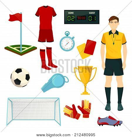Soccer or football sport icons. Vector isolated set of soccer ball, goal gates and football player uniform and referee whistle and goalkeeper gloves, champion or winner golden cup and score stopwatch