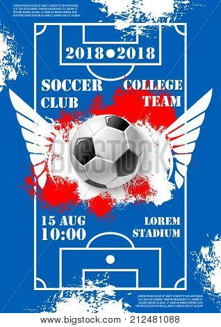 Soccer cup sport game poster for college team football tournament or university championship. Vector design of soccer ball with wings in goal gates in football playing field