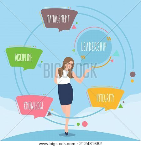 Knowledge management leadership and integrity. Concept business illustration vector