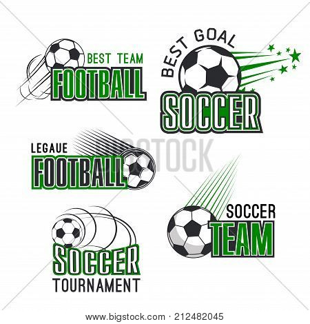 Soccer tournament or football college league championship icons templates. Vector isolated set of football ball in flying motion with victory stars for soccer fan club badge design