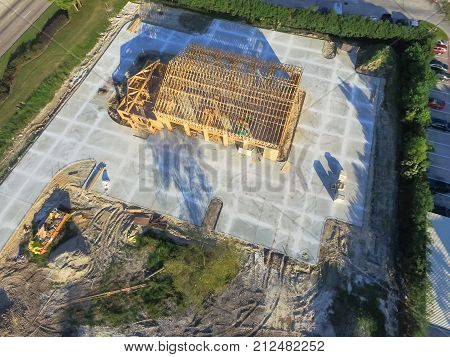 Aerial Wooden House Commercial Building Construction