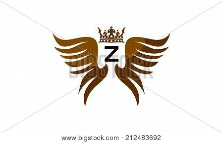 Wing Shield Crown Initial Z Logo Design Template Vector
