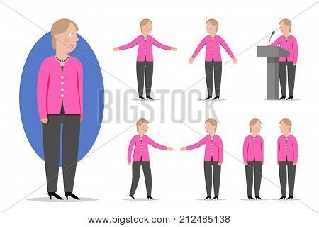 Cartoon style portrait of politic and German Chancellor Angela Merkel. Set of different poses and emotions. Vector illustration for editorial use.