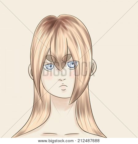a portrait of a girl drawn in an anime style, a blonde with long hair and blue eyes, a little gloomy and unhappy, indifference and bewilderment, but sweet,