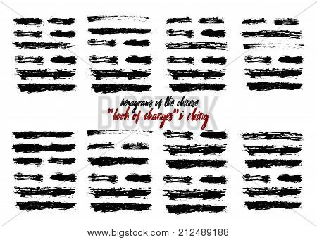 I Ching hexagram, China book changes. Grunge brush texture drawn iching future prediction divination. Vector illustration asian trigram sign symbol astrology balance. Chinese calligraphy hieroglyph.