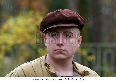 Liberation of Kiev from nazis reenactment.An unidentified person wears historical Soviet costume . At October 5,2017 in Kiev, Ukraine
