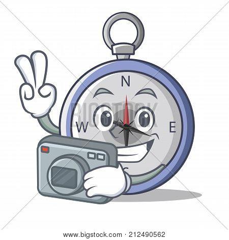 Photographer compass character cartoon style vector illustration