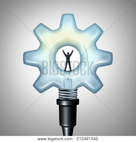 Business creative energy and bright industry idea concept as a businessman standing on a light bulb shaped as a machine gear as a creativity metaphor with 3D render elements.