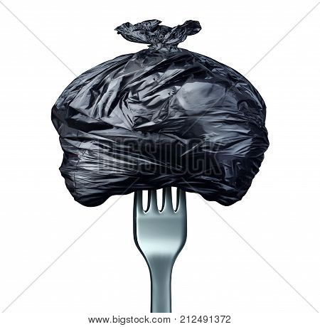 Eat and eating garbage and junk food diet symbol as a fork utensil holding a bag of rubbish as bad cooking concept with 3D illustration elements.