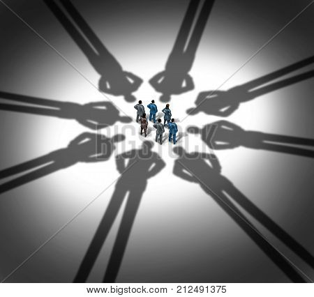 Employee monitoring and workplace surveillance concept as a group of workers being monitored by company executives as shadows in a 3D illustration style.