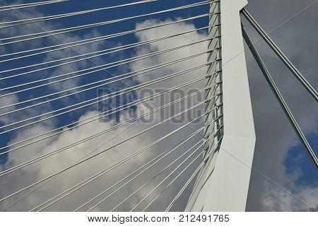 Architectural detail of cable stayed bridge Erasmus in Rotterdam