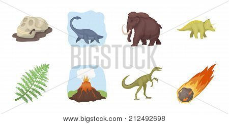 Different dinosaurs icons in set collection for design. Prehistoric animal vector symbol stock  illustration.