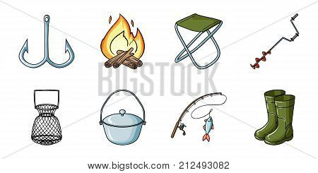 Fishing and rest icons in set collection for design. Tackle for fishing vector symbol stock  illustration.