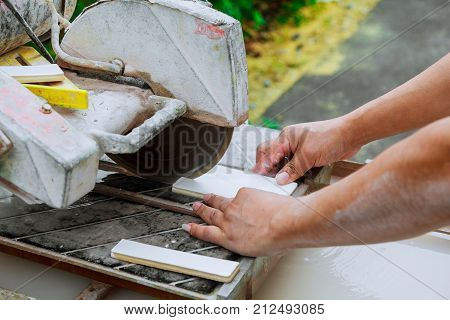 Master Cut The Tile On The Machine Master Cut Tiles On The Machine