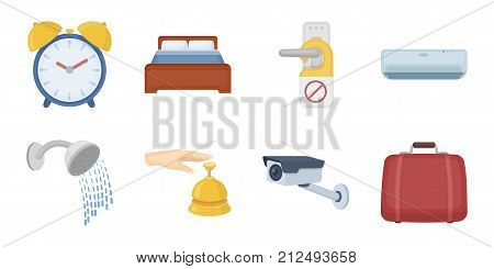 Hotel and equipment icons in set collection for design. Hotel and comfort vector symbol stock  illustration.