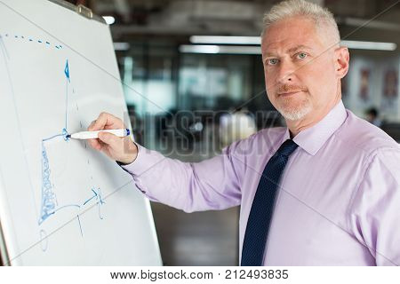 Closeup portrait of content senior male expert looking at camera and drawing line chart on flipchart