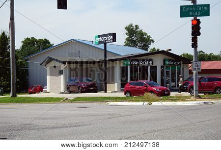 CREST HILL, ILLINOIS / UNITED STATES - JULY 25, 2017: One may rent an automobile from Enterprise Rent-A-Car, at the corner of Caton Farm and Plainfield Roads in Crest Hill.