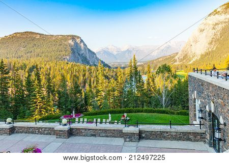Banff August 2015 This is the panoramic view from the terrace of the Banff Spring hotel that in this period is full of tourist because they like to admire its natural scenery.