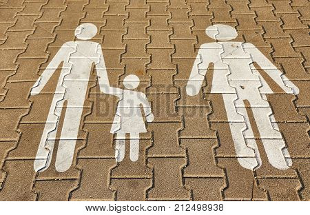 Family sign on the pavement in a carpark parking spot