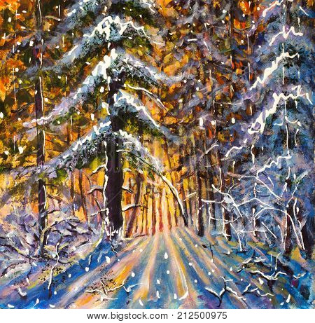 Winter Painting Dawn in winter forest. Handmade artwork Sunrise of a warm yellow sun in a cold blue winter forest. Winter landscape. Large Christmas trees. Postcard art Christmas illustration winter holiday.