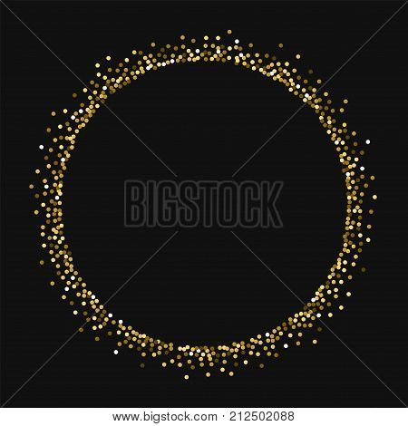 Round Gold Glitter. Round Shape With Round Gold Glitter On Black Background. Splendid Vector Illustr
