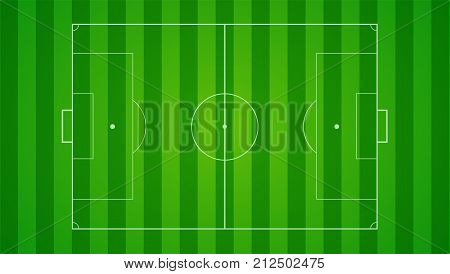European football, soccer field on horizontal background. Field with markings and trimmed lawn, view from above. Plan for the development of tactics and strategy of the game of the playing field