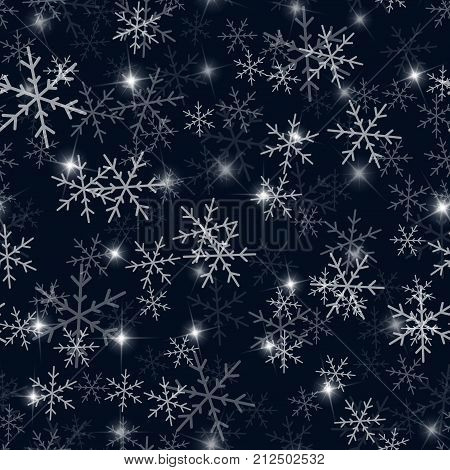 White Snowflakes Seamless Pattern On Black Christmas Background. Chaotic Scattered White Snowflakes.
