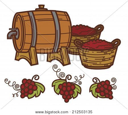Wine barrel and grape harvest in wooden retro winepress icon for winemaking or wine production design. Vector symbols of viticulture winery and vineyard