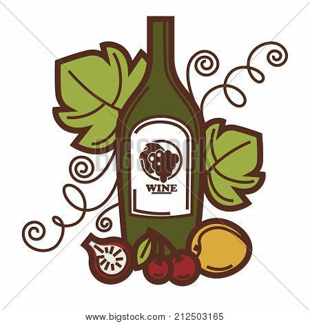 Wine glass bottle, grape vine and fruit harvest icon for winemaking or wine production design. Vector symbol of viticulture winery and vineyard