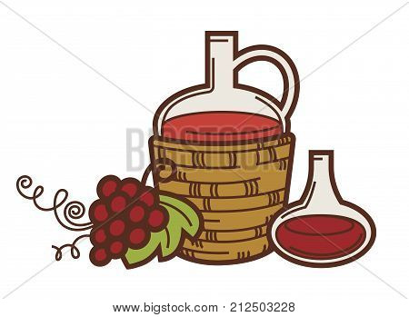 Wine pitcher jug, grape harvest and glass bottle icon for winemaking or wine production design. Vector symbols of viticulture winery and vineyard