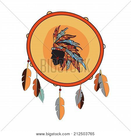 Vector drum icon. Indian native tambourine with feathers and native american illustration.