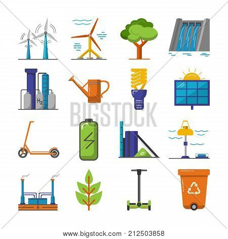 Collection of energy and ecology icons in flat style. Renewable energy sources, ecology transport and objects in colorful symbols isolated on white background.
