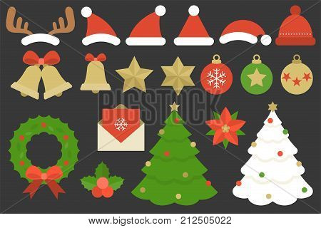Set of elements for Christmas, such as reindeer horn, Christmas hat, wool hat, hanging balls, star, bell with bow, mistletoe, Christmas tree, flower, invitation card, Christmas wreath in flat design