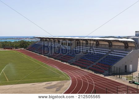 Gelendzhik, Krasnodar region, Russia - July 22, 2015: Tribunes of stadium