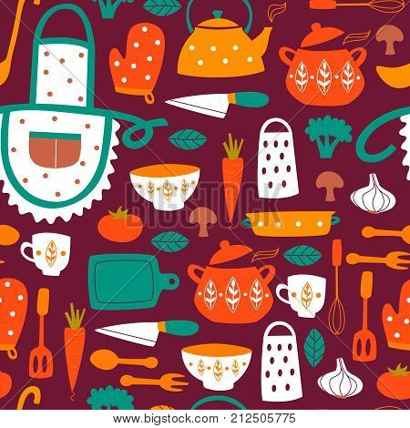 Cute Kitchen Vector Seamless Pattern With Elements And Cooking