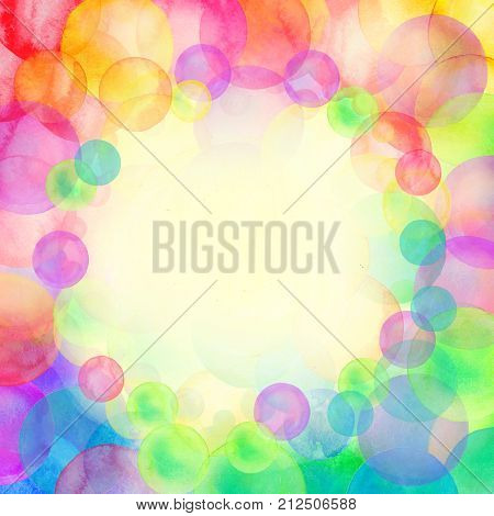 Rainbow Colored Watercolor Confetti Pattern. Dense Watercolor Confetti