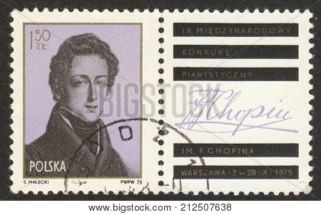 MOSCOW RUSSIA - CIRCA OCTOBER 2017: a post stamp printed in POLAND shows the portrait of F. Chopin dedicated to the 9th International Chopin Piano Competition circa 1975