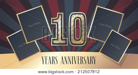 10 years anniversary vector icon logo. Template design element greeting card with collage of photo frames and gold color number for 10th anniversary. Can be used as background or banner